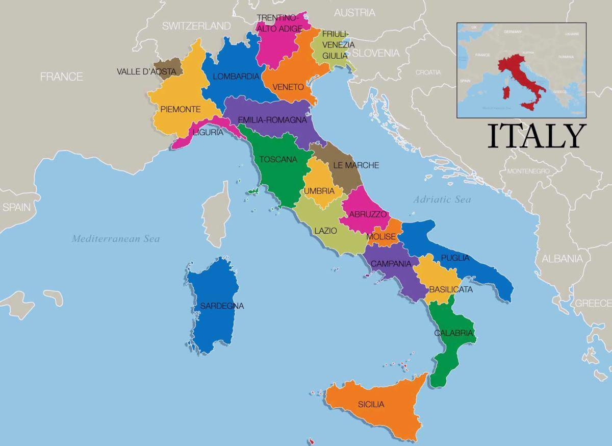 Italiya Karta Oblasti Karta Italii I Regiony Yuzhnaya Evropa Evropa